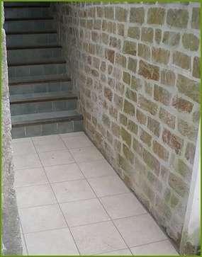 escalier, mur pierre